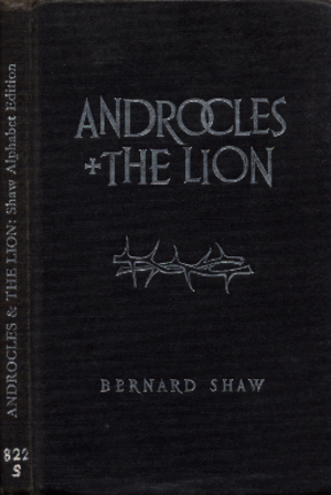 Shavian alphabet - Libraries were furnished with free hardcover copies of Androcles and the Lion: Shaw Alphabet Edition, 1962. Cover design by Germano Facetti