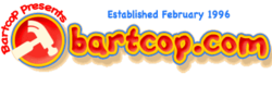 Logo as seen at the top of Bartcop.com homepage.