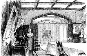 Beefsteak Club - Dining room at the Lyceum, used by the Sublime Society and later by Henry Irving. The kitchen is at the rear, beyond the gridiron-shaped grating.