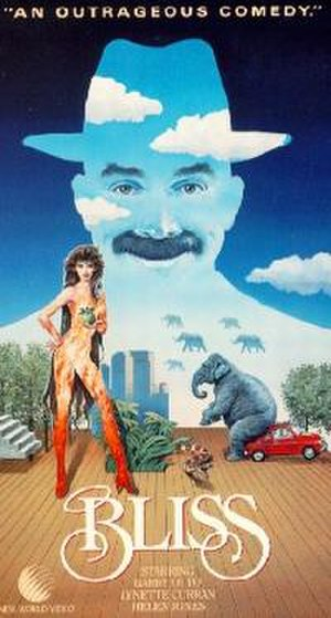 Bliss (1985 film) - VHS cover, depicting the movie as a cartoonish comedy