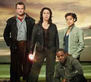 Bonekickers - From left to right: Prof Gregory Parton (Hugh Bonneville), Dr Gillian Magwilde (Julie Graham), Dr Ben Ergha (Adrian Lester) and Viv Davis (Gugu Mbatha-Raw)