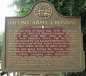 Battle of Brier Creek - Marker commemorating the British crossing at Paris' Mill.  The bridge at the mill site was burned down by retreating Patriot forces and the advancing British demolished the home and or millhouse of Francis Paris, whose timbers were used to construct a crossing over Brier Creek.