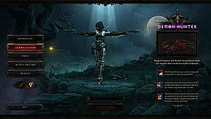 Diablo III - Character creation screen with the Demon Hunter selected
