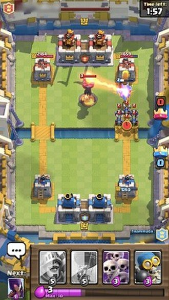 Clash Royale - A screenshot of an ongoing 2v2 game. Note the appearance of two king towers and the presence of the player's teammate's cards.