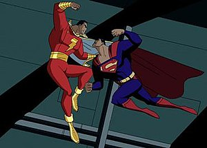 "Captain Marvel (DC Comics) - Captain Marvel fights Superman in the ""Clash"" episode of Cartoon Network's Justice League Unlimited."