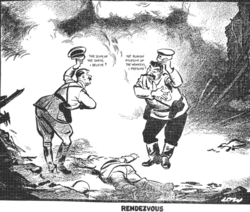 "Rendezvous. David Low's cartoon, published in the Evening Standard on 20 September 1939, shows Hitler greeting Stalin, following their joint invasion of Poland, with the words, ""The scum of the earth, I believe?"". To which Stalin replies, ""The bloody assassin of the workers, I presume?"""