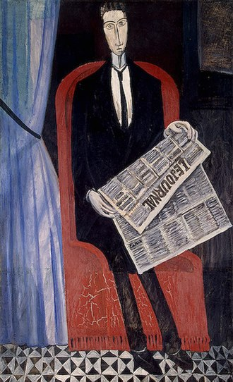 1914 in art - Image: Derain Portrait of a Man with a Newspaper