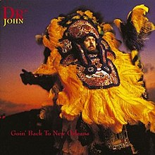 Dr. John dressed as a Mardi Gras Indian