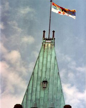 Royal standards of Canada - The Queen's standard flying from the Peace Tower on Parliament Hill