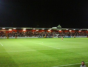 Stevenage F.C. - View of the East Terrace from the Main Stand at Broadhall Way
