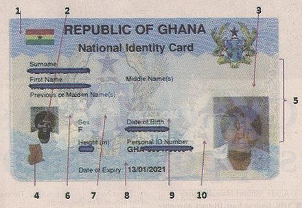 Ghana Card (Ghanaian electronic ID Card) - obverse with chip Ghana Card biometric.jpg