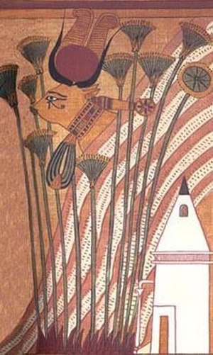 Sacred bull - Hathor as a cow, wearing her necklace and showing her sacred eye on the Papyrus of Ani.
