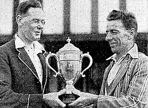 Hawke Cup - Edgar Neale (captain of Nelson, L) receives the Hawke Cup from Sydney Badeley (captain of South Auckland, R) in January 1933.