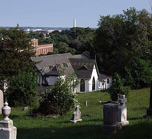 Holy Rood Cemetery - View of Washington Monument from Holy Rood Cemetery