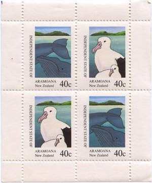 "Save Aramoana Campaign - Stamps issued in 1981 by Aramoana to raise funds for the anti-smelter campaign. The design was based on the painting ""Puketotara, Twice Shy"" by New Zealand regionalist artist, Don Binney."