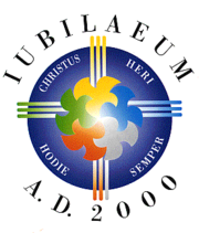The official logo of the Great Jubilee of 2000 features its motto: Christ Yesterday, Today, Forever.