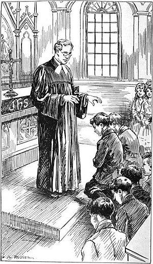 Minister (Christianity) - A Lutheran minister wearing a Geneva gown and bands. Ministers may wear distinctive clothing, called vestments, when presiding over a service of worship.