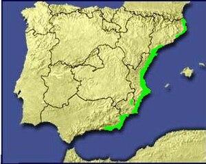 Spanish toothcarp - Image: Mapaespana fartet
