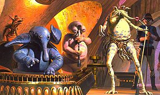 Max Rebo Band - Concept art of the original Max Rebo Band by Ralph McQuarrie. From left to right: Max Rebo, Droopy McCool, and Sy Snootles