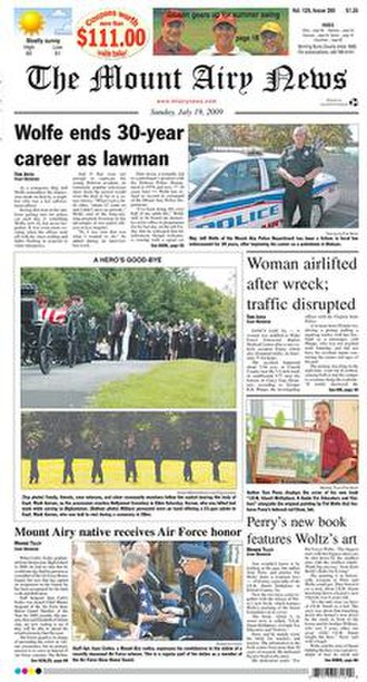 The Mount Airy News - Image: Mt airy cover 7 19 2009