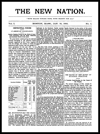 New Nation (United States) - Cover of volume 1, number 1 of Edward Bellamy's The New Nation, dated January 31, 1891.