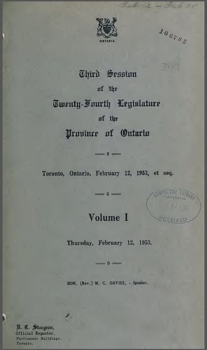 Hansard - Cover page of Hansard for the Province of Ontario, February 12, 1953