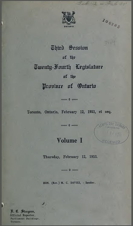 Cover page of Hansard for the Province of Ontario, February 12, 1953 Ontario Hansard 1953.jpg