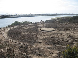 Bolsa Chica Ecological Reserve - Bolsa Chica Ecological Reserve is the site of two large concrete Panama-style mounts for Fort MacArthur's southernmost batteries.