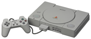 PlayStation models - The very first PlayStation model, the Japanese SCPH-1000, shown with original controller and memory card.