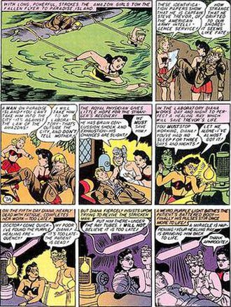 Wonder Woman - Diana rescues Steve Trevor from the sea and frantically creates the purple ray in order to heal him.