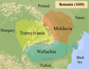 Voivodeship - Principality of Transylvania and the voivodeships of Wallachia and Moldavia ruled by Mihai Viteazul in 1600
