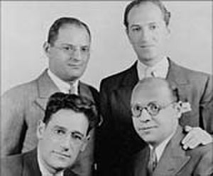 Morrie Ryskind - Bottom, left to right: George S. Kaufman, Morrie Ryskind, (top) Ira Gershwin, George Gershwin.