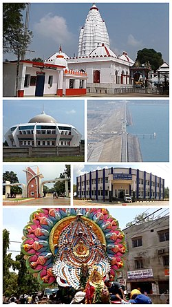 From top left to right: Samaleswari Temple, Dr APJ Abdul Kalam Planetarium, Hirakud Reservoir, Sambalpur University, Indian Institute of Management Sambalpur, and the Sitalsasthi Carnival