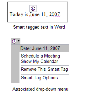 Smart tag (Microsoft) - Smart tags in Microsoft Office Word