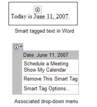 Microsoft Office XP - A recognized calendar date and an associated smart tag in Word 2002 presenting options to schedule a meeting or open the user's calendar on that date.