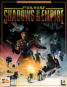 Star Wars: Shadows of the Empire cover art. The game's title takes up the top quarter of the image, with the remaining area consisting of a montage of characters spread across the bottom. The game's protagonist, Dash Rendar, is prominently featured.