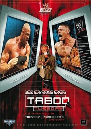 Taboo Tuesday (2005) - Promotional poster featuring Kurt Angle, Eric Bischoff and John Cena