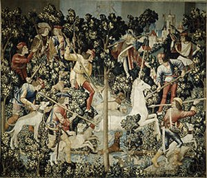 The Hunt of the Unicorn - Tapestry 4, The Unicorn is Attacked