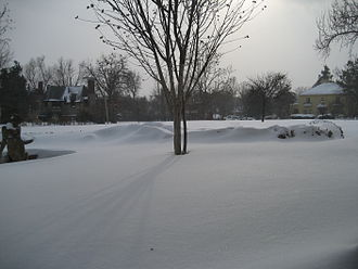 House of Night - In a blizzard similar to that described in Hunted, 14 inches of snow fell on Tulsa. This photo was taken about 100 yards from the route Zoey used to flee the House of Night.