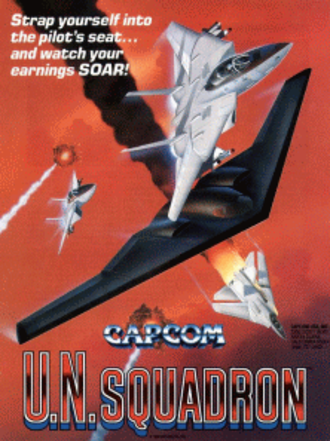 U.N. Squadron - Sales flyer for the arcade version