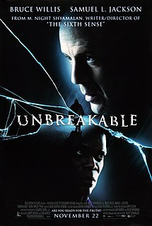 Movie poster showing the head of a man on the top right looking to the left. At the center of the image is a woman wearing a raincoat, as the film's title overlaps him. At the bottom of the image is the head of another man looking to the right. Cracks are shown across the image. Text at the top and bottom of the image lists the starring roles, the credits, and tagline.