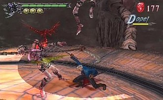 Devil May Cry 3: Dante's Awakening - Vergil attacking with his sword, Yamato. His addition as a playable character in the special edition was well received by critics.