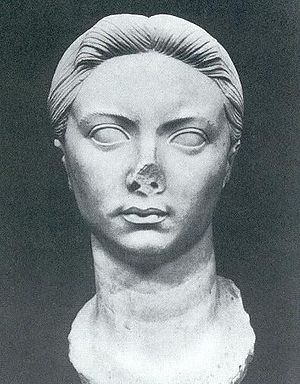 Tiberius - A bust of Vipsania Agrippina, Tiberius' first wife, recovered from Leptis Magna.
