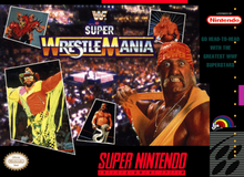 Video game cover of WWF Super WrestleMania for the SNES, depicting WWF superstars Hulk Hogan, Randy Savage, Jake Roberts, Sid Justice, and the Legion of Doom.