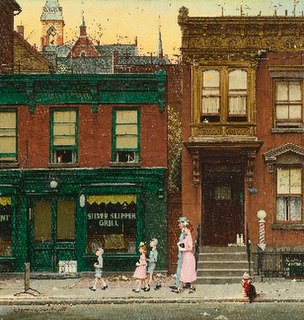 <i>Walking to Church</i> painting by Norman Rockwell