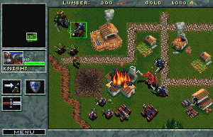 Warcraft: Orcs & Humans -  Orcs (red) attack a Human town and its defenders (blue). The flaming building is close to collapse, and the burnt ground to its left is the remains of a razed building. The numbers across the top are the player's reserves of lumber and gold. The unit marked with a light green box is currently selected, and its details appear in the lower left panel. The upper left panel is the mini-map, which shows all the territory fought over, mostly not yet discovered by the player, and enables the player to select a part of the territory to view.