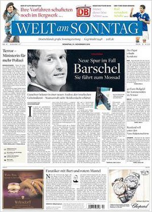 Welt am Sonntag - Image: Welt am Sonntag front page