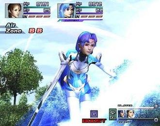 """Xenosaga Episode II - A battle in Xenosaga Epsiode II, featuring main character KOS-MOS performing a """"Boost"""" move."""