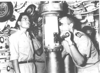 PNS Ghazi - Combat control center of Ghazi as periscope held by Cdr K.R. Niazi in 1965