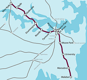 Proposed railways in Sydney - Map showing Anzac Line, 2007.